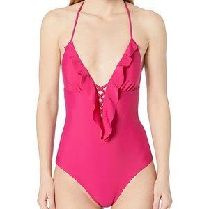Shoshanna Pink Cascade Ruffle One-Piece Swimsuit 6